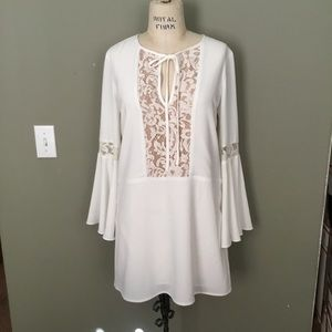 Charles Henry Boho Styled Dress With Lace Insert